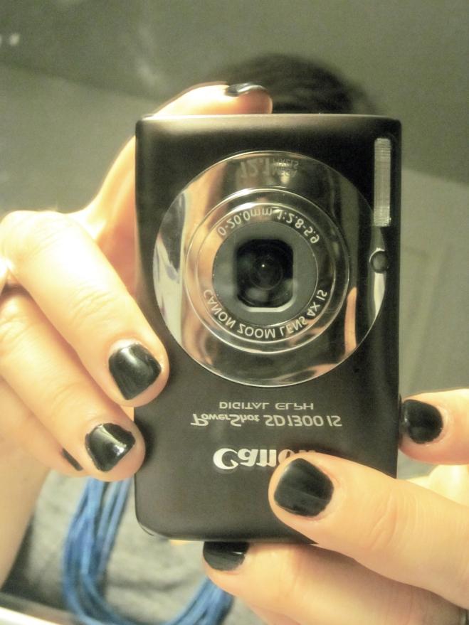 Canon camera and black nails